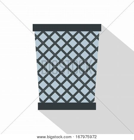 Wire metal bin icon. Flat illustration of wire metal bin vector icon for web on white background
