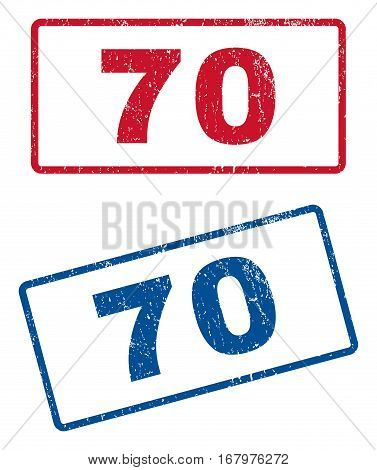 70 text rubber seal stamp watermarks. Vector style is blue and red ink caption inside rounded rectangular shape. Grunge design and scratched texture. Blue and red signs.