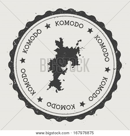 Komodo Sticker. Hipster Round Rubber Stamp With Island Map. Vintage Passport Sign With Circular Text