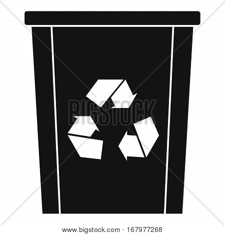 Trash bin with recycle symbol icon. Simple illustration of trash bin with recycle symbol vector icon for web