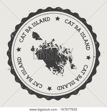 Cat Ba Island Sticker. Hipster Round Rubber Stamp With Island Map. Vintage Passport Sign With Circul