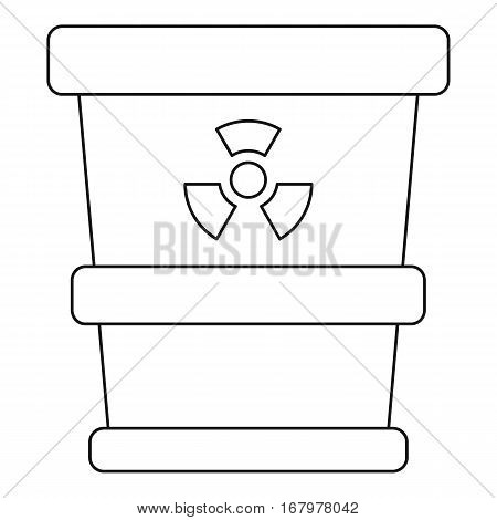 Trash can with radioactive waste icon. Outline illustration of trash can with radioactive waste vector icon for web