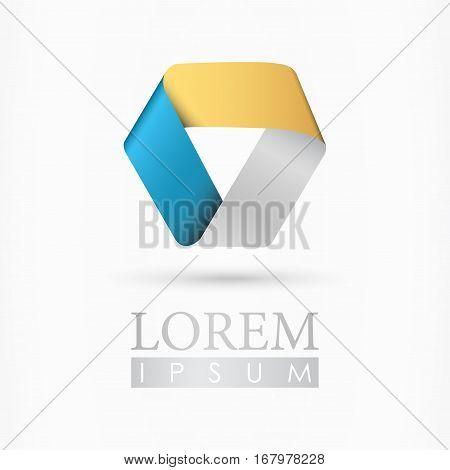 Triangle ribbon abstract company logo - isolated vector illustration