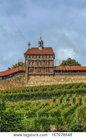 The Esslingen Burg (Castle) has towered above the town for over 700 years. It was always part of the former town fortifications. Germany. Hochwacht (High Watch Tower)