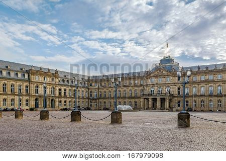 The New Palace is one of the last large city palaces to be built in Southern Germany is the magnificent 18th Century Baroque residence of the Kings of Wurttemberg Stuttgart Germany