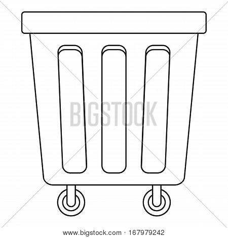 Outdoor trash bin with wheels icon. Outline illustration of outdoor trash bin with wheels vector icon for web