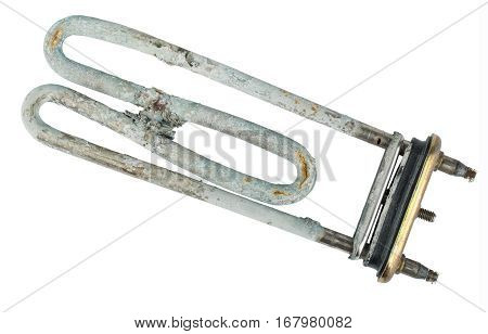 Broken heating element of water heater isolated on white background