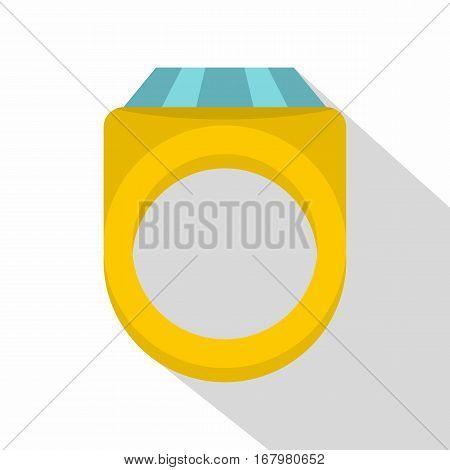 Diamond ring icon. Flat illustration of diamond ring vector icon for web on white background