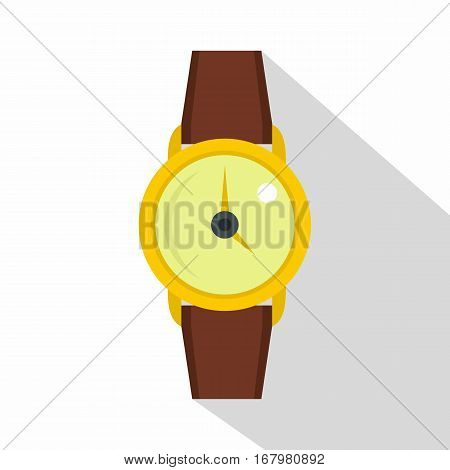 Gold wristwatch icon. Flat illustration of gold wristwatch vector icon for web on white background