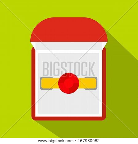 Gold ring with ruby in a red velvet box icon. Flat illustration of gold ring with ruby in a red velvet box vector icon for web on lime background