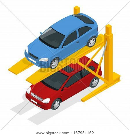 Isometric Hydraulic lifts for the car in the underground parking. Flat vector Multi-level parking.