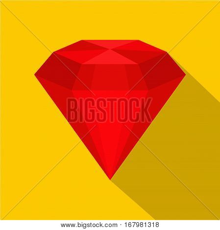 Ruby icon. Flat illustration of ruby vector icon for web on yellow background