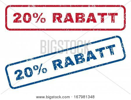 20 Percent Rabatt text rubber seal stamp watermarks. Vector style is blue and red ink tag inside rounded rectangular banner. Grunge design and scratched texture. Blue and red signs.