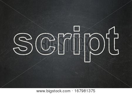 Programming concept: text Script on Black chalkboard background