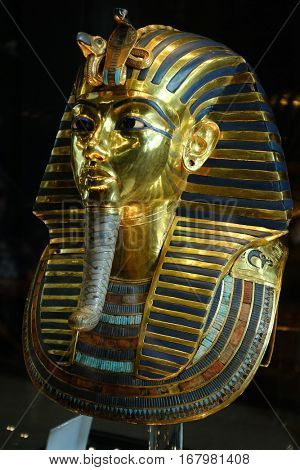 CAIRO, EGYPT - 07 JANUARY 2016: Tutankhamen's Mask in Egyptian Museum in Cairo. It is main attraction object of the Museum.