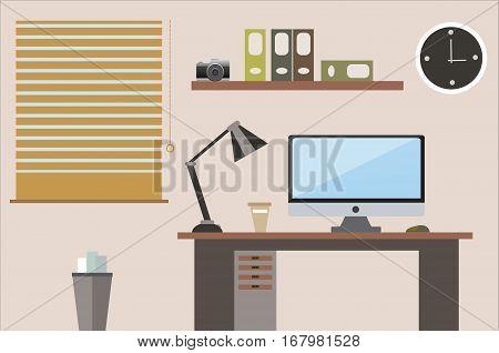 Flat design vector illustration office workspace brown shades