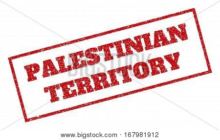 Red rubber seal stamp with Palestinian Territory text. Vector message inside rectangular frame. Grunge design and scratched texture for watermark labels. Inclined sign.