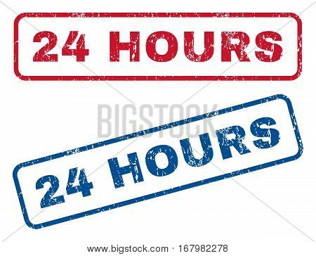 24 Hours text rubber seal stamp watermarks. Vector style is blue and red ink tag inside rounded rectangular shape. Grunge design and dirty texture. Blue and red signs.