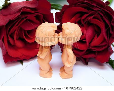 A kiss for valentine's day,couple of dolls in love