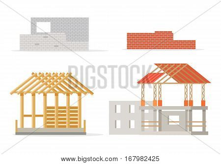 Industrial process of building new house. Stages of constructing. Industrial and design brick wall, house frame of girders, pieces of roof, foundation of house and cement walls. Vector illustration