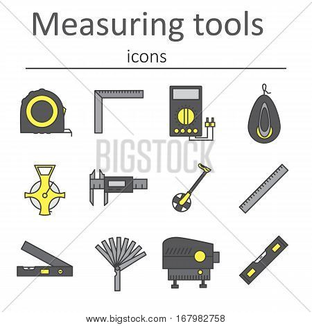A set of measuring instruments used in construction to measure distances and other variables. Vector illustration.