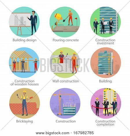 Set of icons of building process. Building design, pouring concrete, construction investment, construction of wooden houses, wall, building, bricklaying, construction, construction completion. Vector