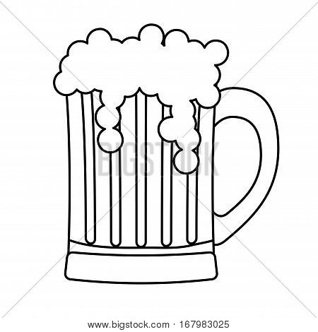 contour glass beer icon image design, vector illustration