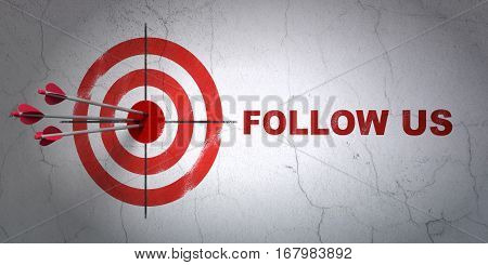 Success social media concept: arrows hitting the center of target, Red Follow us on wall background, 3D rendering