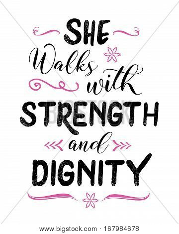 She walks with Strength and Dignity Typography Art bible verse scripture poster from Proverbs 31 with design ornaments and accents, pink and black on white background