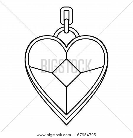 Pendant in the shape of heart icon. Outline illustration of pendant in the shape of heart vector icon for web