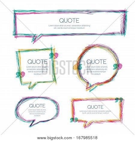 Vector Set Of Quote Blank Template. Multicolor Overlapping Banner Background. Hand Drawn Sketch Fram
