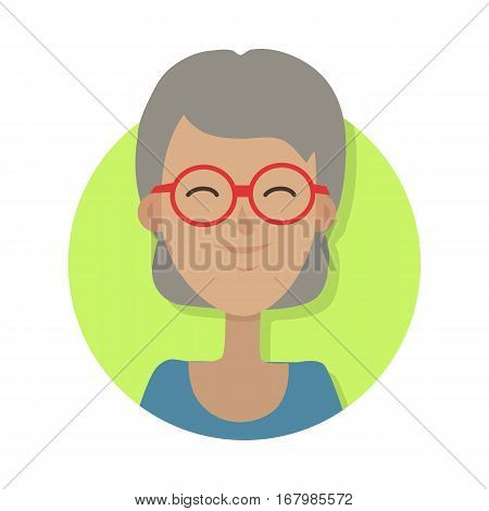 Avatar userpic icon. Isolated old woman on portrait smiling and wearing red round glasses. Dark green blouse and grey hair. Light green circle on white background in flat design. Vector illustration.