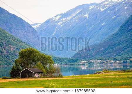 Mountains And Fjord In Norway,