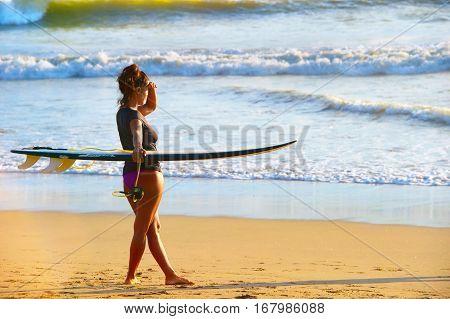 Surf Girl On The Beach