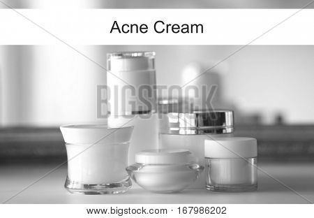 Beauty and skin care concept. Acne medication cosmetic on dressing table