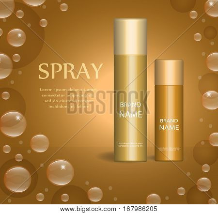 Realistic spray package template for your design. Deodorant vial mock-up product. Cosmetics 3d flacon. Vector illustration