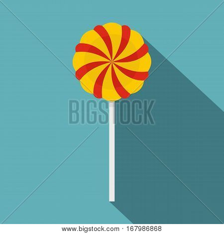 Candy stick icon. Flat illustration of candy stick vector icon for web on baby blue background