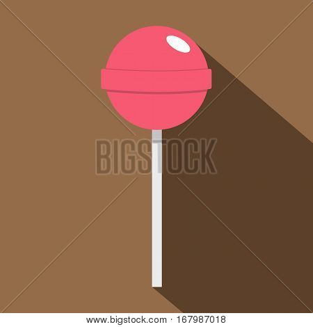 Pink lollipop icon. Flat illustration of pink lollipop vector icon for web on coffee background