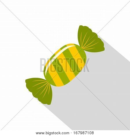 Sweet candy in green wrap icon. Flat illustration of sweet candy in green wrap vector icon for web on white background
