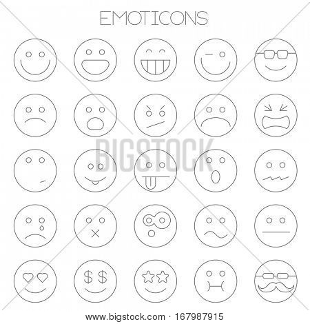 Thin line vector smiles. Flat design emoticon collection  icon set on white background.