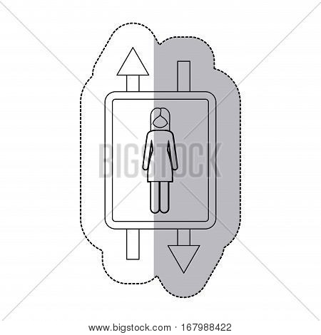 middle shadow monochrome sticker with double sign arrow with woman with long hair vector illustration