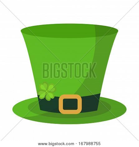 Green hat cylinder, flat style icon. St. Patrick's Day symbol. Isolated on white background. Vector illustration