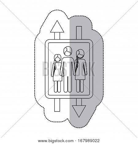 middle shadow monochrome sticker with double sign arrow with man and woman with braided hair and girl vector illustration