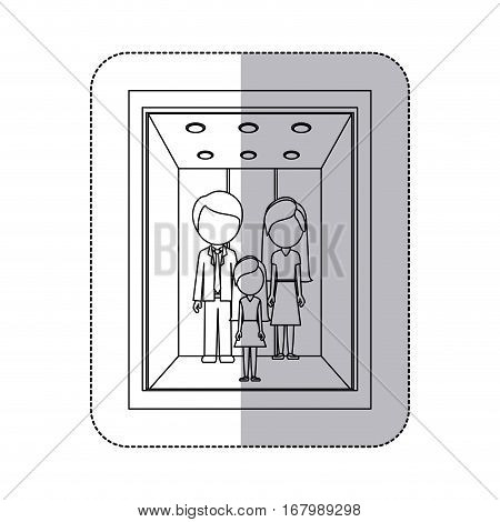 middle shadow monochorme sticker with people in elevator vector illustration