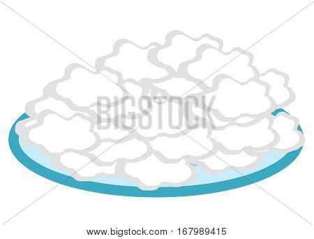Cottage cheese in a plate flat style icon. Isolated on white background. Vector illustration