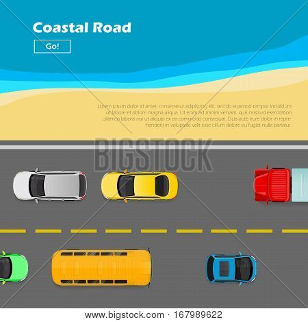 Coastal road. Traffic flows on left side of road near seaside. Way lane in flat style. Auto transport banner. Transportation system. Structural road design. Line markings. Vector Illustration