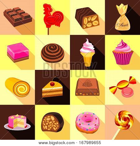 Sweets, chocolate and cakes icons set. Flat illustration of 16 sweets, chocolate and cakes vector icons for web