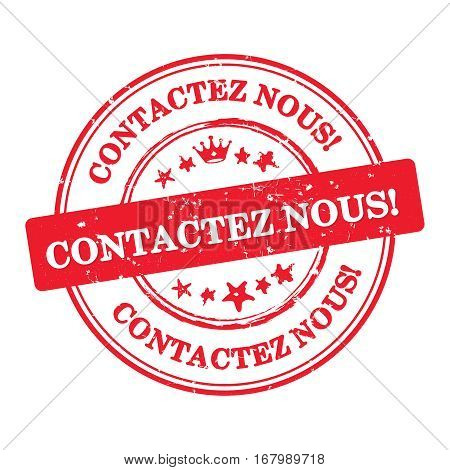 Contact us! French language (Contactez nous) - label  / sticker  / sign / icon, also for print