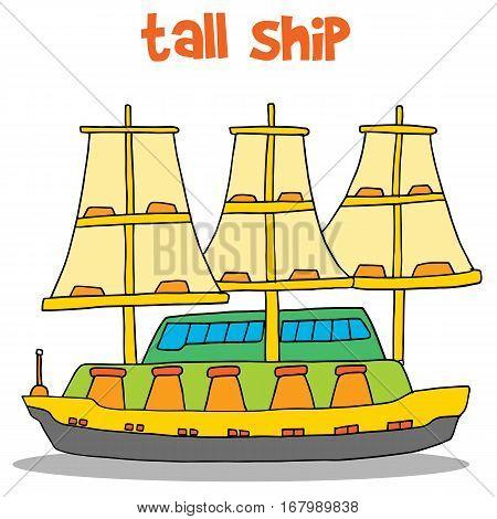 Vector art of tall ship collection stock