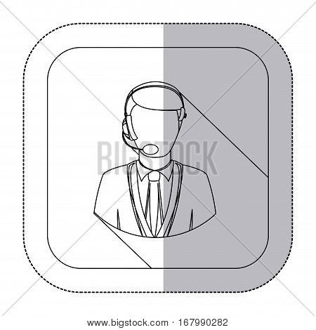 middle shadow monochrome sticker with men operator with headphone in frame vector illustration